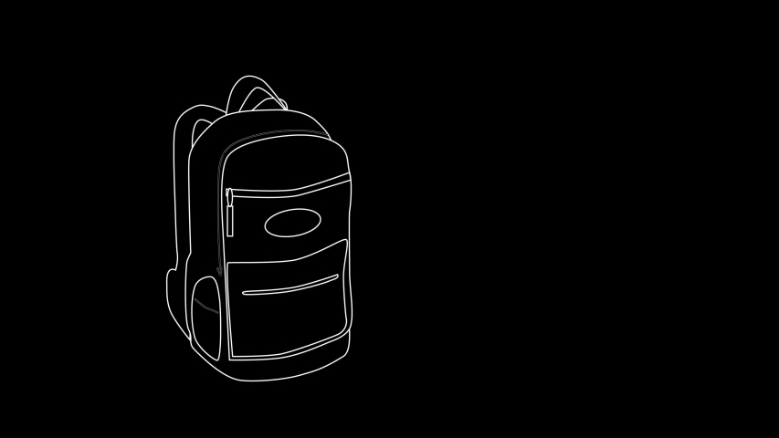 Self drawing sketch animation of backpack. Concept of urban life style, travel, mobility, active lifestyle. Black background. Copy space. Line art, minimalism.   Shutterstock HD Video #1045308133