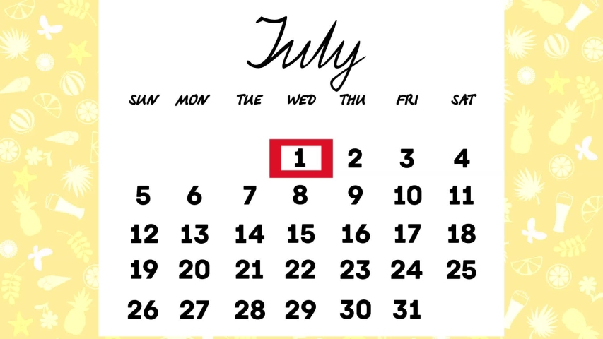 Calendar for July.the days of the month change in turn .animated video | Shutterstock HD Video #1045960453