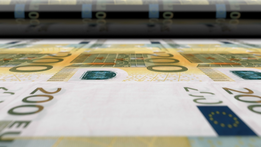 Euro money banknotes printing press machine prints 200 EUR banknotes. Animation showing how european currency is being printed and emissioned. Close-up of printing press process, seamless loop. | Shutterstock HD Video #1045978453