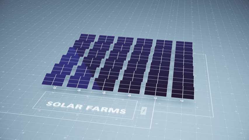 An array of solar panels as part of a solar farm contribute to harnessing the sun's energy creating electricity and power contributing to green energy production | Shutterstock HD Video #1046336683