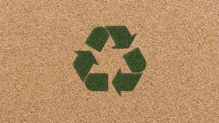 Growing Grass Recycling Symbol with Sand Background. 4K  | Shutterstock HD Video #1046433013
