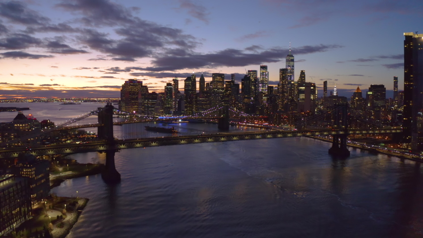 New York City downtown buildings skyline aerial evening sunset | Shutterstock HD Video #1046444533
