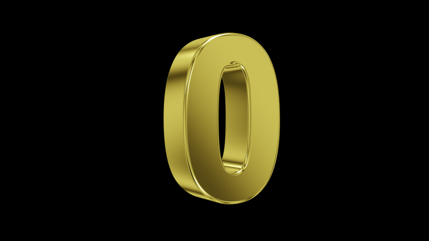 Number 0 on transparent background in gold, with looping animation, 3d render, prores 4444 | Shutterstock HD Video #1046486053