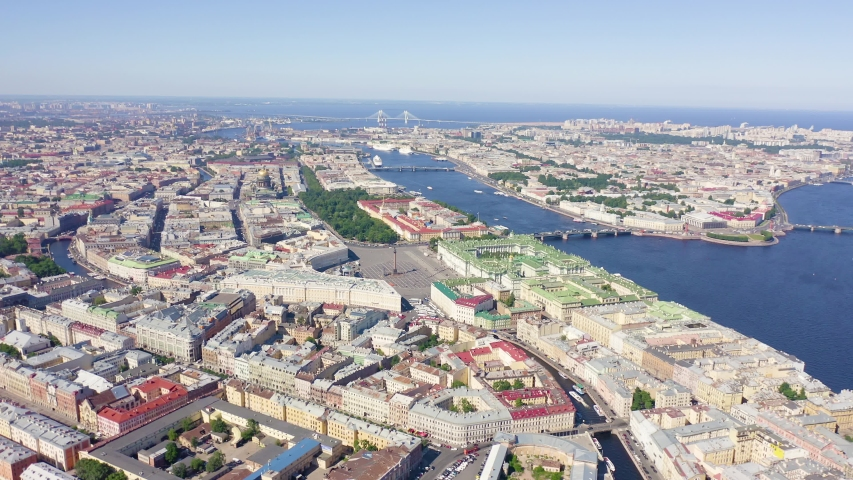 Panoramic aerial view of the city center of St. Petersburg in clear sunny weather, Russia, Aerial View | Shutterstock HD Video #1046734033