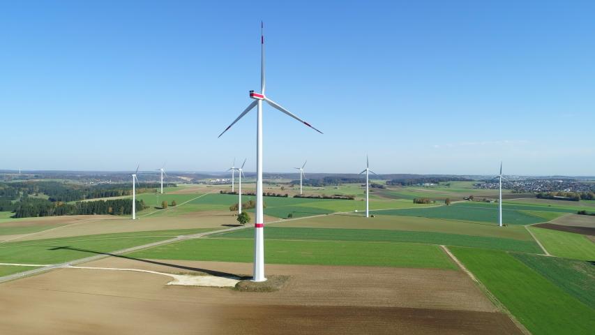 Aerial view of wind turbines, Swabian Alb, Germany | Shutterstock HD Video #1046743363