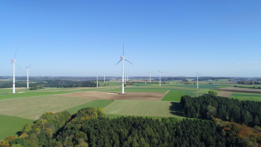 Aerial view of wind turbines, Swabian Alb, Germany | Shutterstock HD Video #1046743393