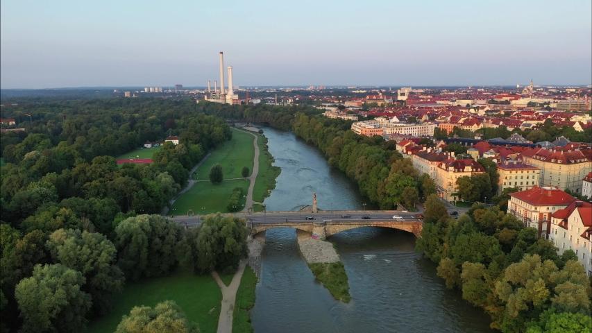 Aerial of Wittelsbacherbruecke and Isarvorstadt, Munich, Germany | Shutterstock HD Video #1046744023