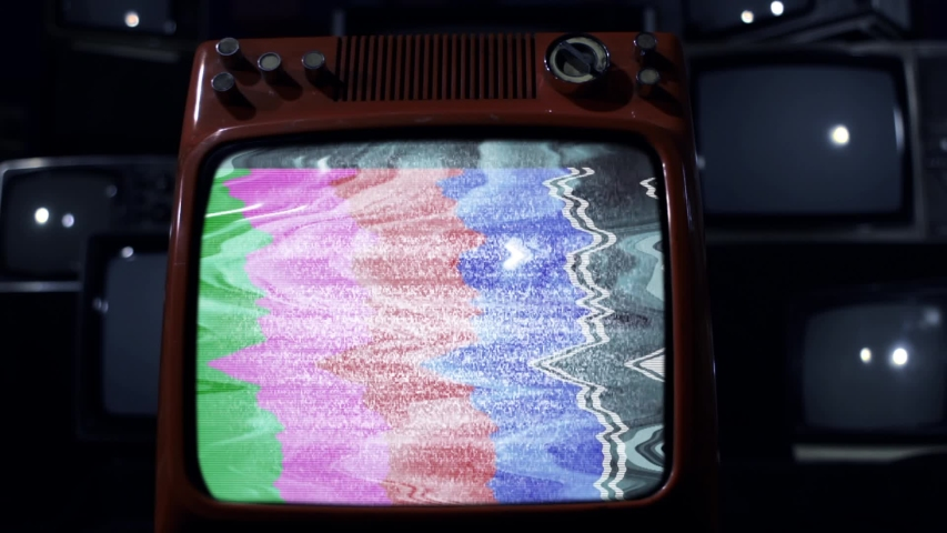 """Antique Television Set turn on Green Screen with Static Noise and Color Bars. Dolly In. Dark Blue Tone. You can Replace Green Screen with the Footage or Picture you Want with """"Keying"""" effect in AE.  