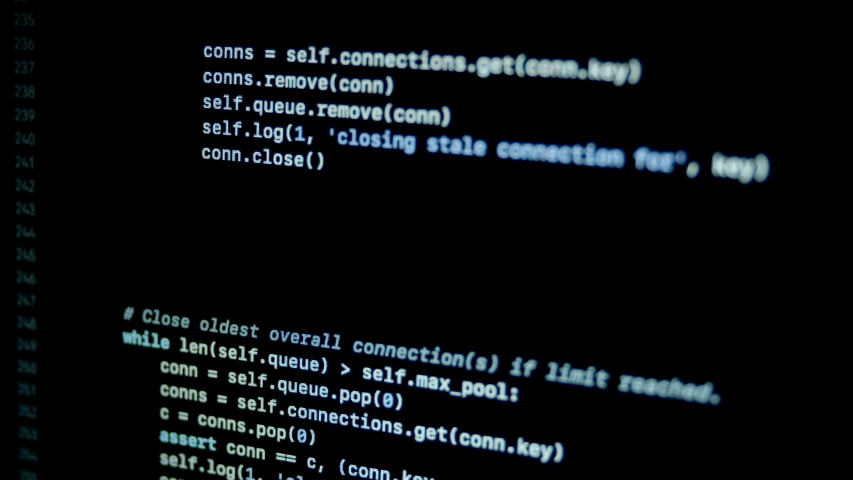 Scroll and type python programming code on laptop screen   Shutterstock HD Video #1046966653