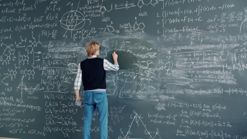 Time lapse of creative guy researcher writing formulas on chalkboard in class working alone in university solving scientific problem. People and education concept. | Shutterstock HD Video #1046967103