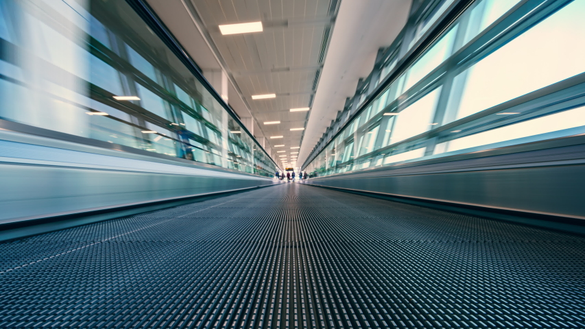 4K Motion blur timelapse of moving escalator in the Airport  | Shutterstock HD Video #1046967373