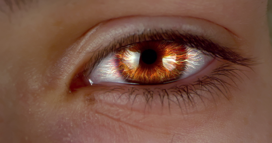 Female green-brown eye with CG rendered futuristic neurone cells. Extreme macro.   Shutterstock HD Video #1047111823