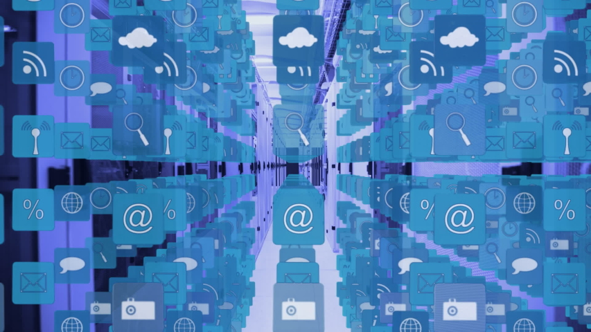 Animation of digital icons, data processing and digital information flowing through network of computer servers in a server room. Global network of internet service provider or data processing centre | Shutterstock HD Video #1047231253