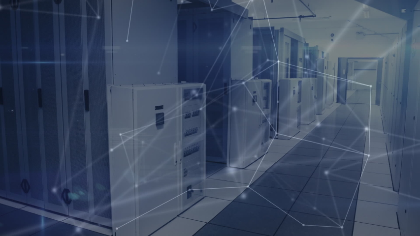 Animation of network of connections, data processing and digital information flowing through network of computer servers in a server room. Global network of internet service provider or data | Shutterstock HD Video #1047234493