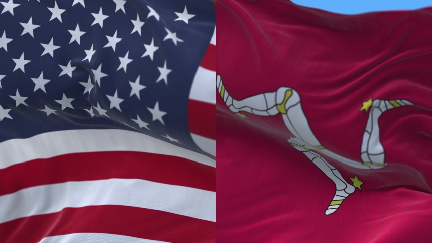 4k seamless United States of America USA and Isle of Man National flag slow waving with visible wrinkles.fully digital rendering,animation loop,flag 3D animation blue sky background.    Shutterstock HD Video #1047365923