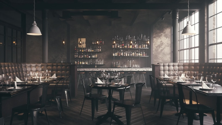Restaurant Bar Interior. Stylish loft style pub. Bar counter in an empty restaurant.  Realistic 3d visualization. | Shutterstock HD Video #1047480073