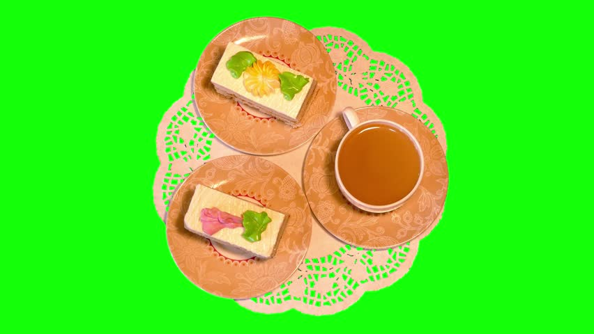 White coffee, two small cream cakes on saucers and sugar on paper napkin rotating on green screen, loop, top shot, 4k | Shutterstock HD Video #10477883