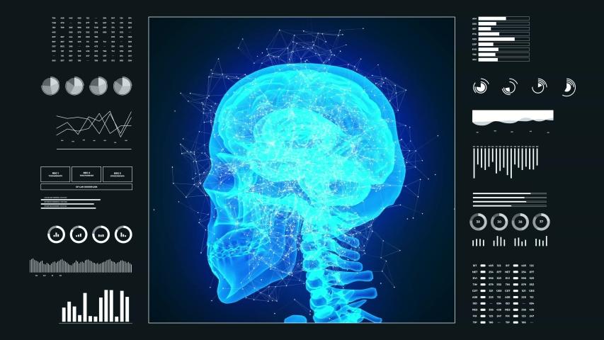 Human brain inside skull and neurological activity. Hud futuristic panel. Animation 3d 4k.   Shutterstock HD Video #1049267083