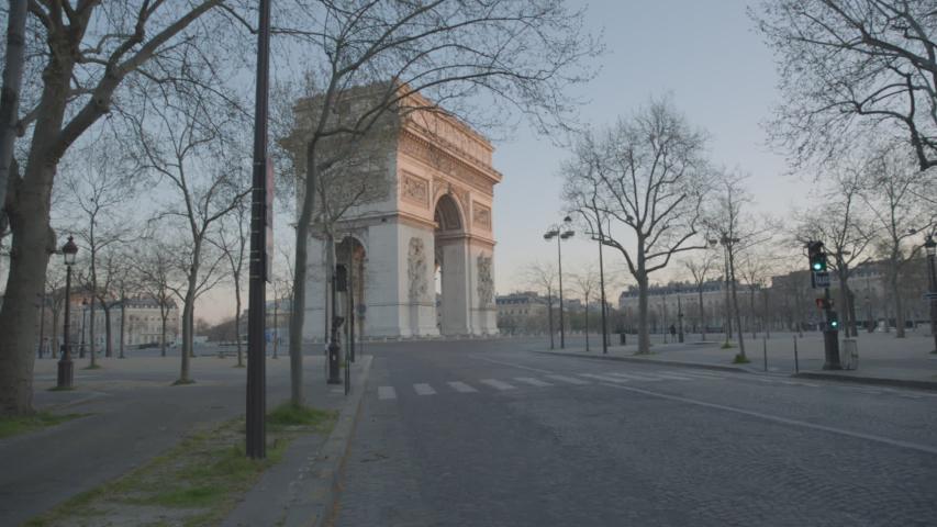 Arc de Triomphe Paris Vide Coronavirus Confinement | Shutterstock HD Video #1049307313