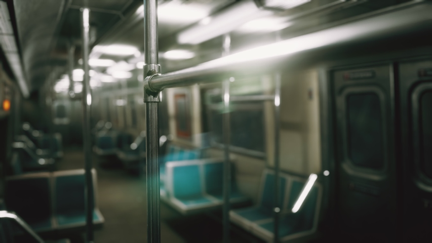 Subway car in USA empty because of the coronavirus covid-19 epidemic | Shutterstock HD Video #1049332543