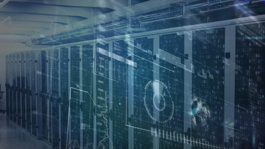 Animation of data processing and digital information flowing through network of computer servers in a server room with light trails flashing on surface. Global network of internet service provider or | Shutterstock HD Video #1049358943