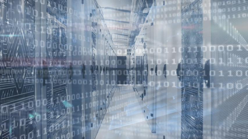 Animation of data processing and digital information flowing through network of computer servers in a server room with light trails flashing on surface. Global network of internet service provider  | Shutterstock HD Video #1049361913
