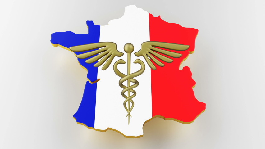 Caduceus sign with snakes on a medical star. Map of France land border with flag. France map on white background. 3d rendering | Shutterstock HD Video #1049432593