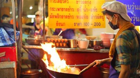 Street food night life in China town, BANGKOK, THAILAND - 2015
