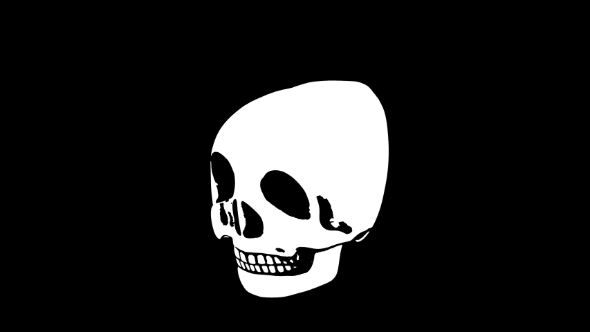 Seamless animation psychedelic skull printed drawn style cartoon isolated with alpha channel. Hypnotic halloween background with marker stroke effect. | Shutterstock HD Video #1049505553