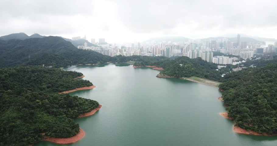 Aerial view of Discovery Bay on Lantau Island in Hong Kong | Shutterstock HD Video #1049561293