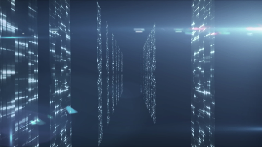 Animation of data processing and digital information flowing through network of computer servers in a server room with light trails flashing on surface. Global network of internet service provider or | Shutterstock HD Video #1049617333