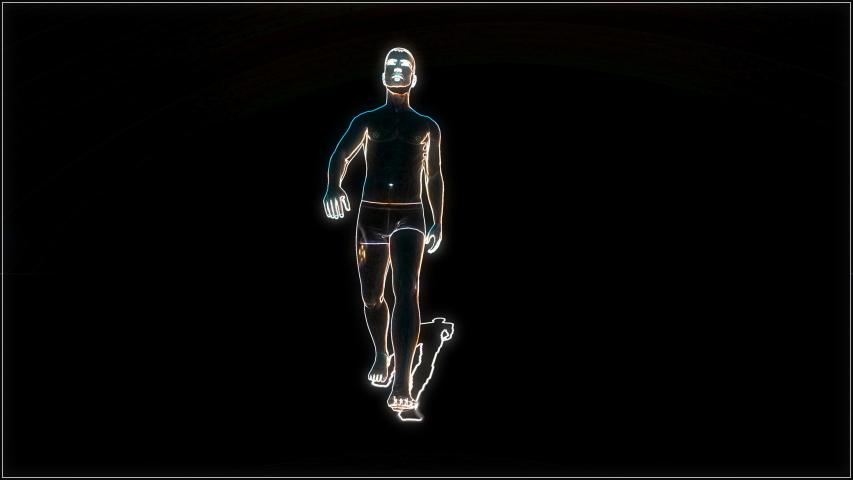 Character walk in cartoon style on black background. Neon videogame bodybuilder pixel gym 80s glitch 4k | Shutterstock HD Video #1049712883