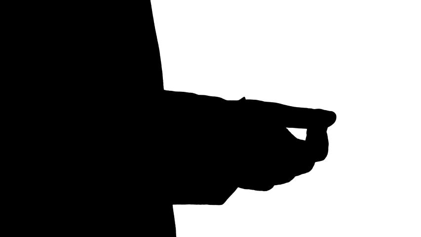 Silhouette Caucasian man's hands using sanitizer. | Shutterstock HD Video #1049842033