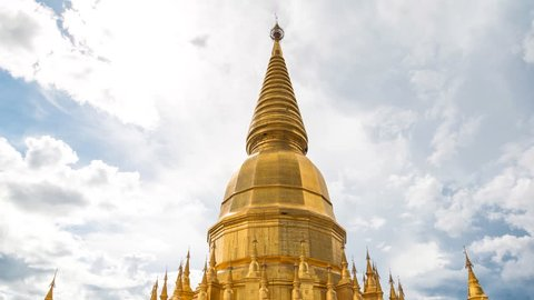 Golden Pagoda Sri Vieng Chai Of Phra Phutthabat Huai Tom Temple Lamphun, Thailand (Hyper Time Lapse)