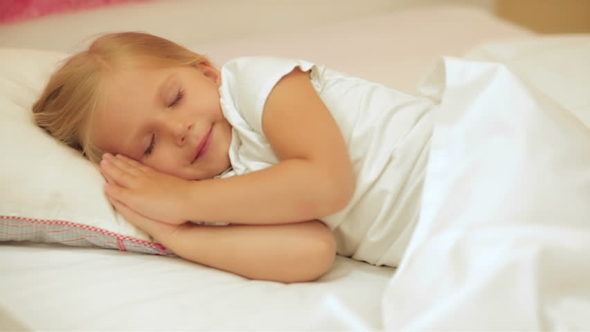Cute Little Girl Sleeping With Her Teddy Bear Stock -9035