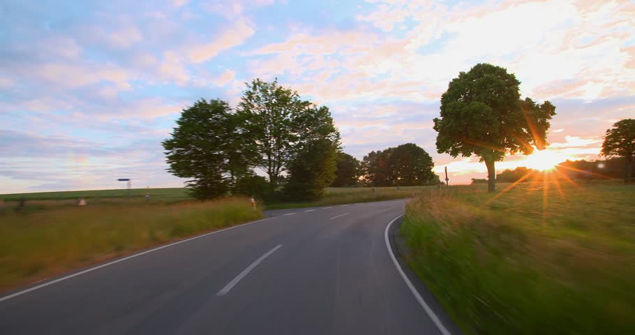 Driving a car - POV - 4K+ - Road into the Sunset - Part 7 of 7