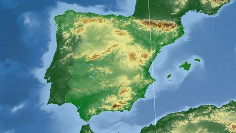 Cataluna autonomous community extruded on the physical map of Spain. Rivers and lakes shapes added. Colored elevation data used. Elements of this image furnished by NASA.