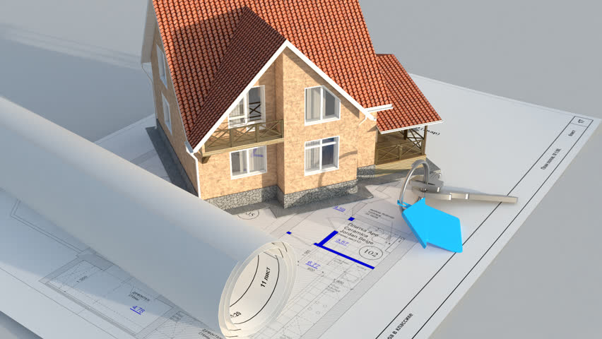 Architecture Blueprints 3d camera fly on architectural blueprints stock footage video