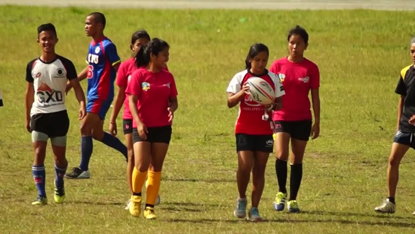LAGUNA, PHILIPPINES - CIRCA 2014: Rugby Players are rigorously trained for the incoming athletic sports event. Public Event | Shutterstock HD Video #10544483