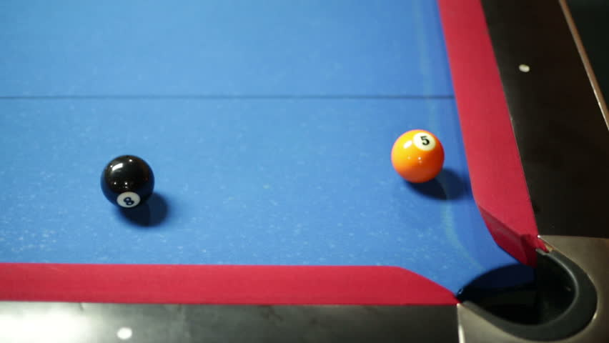 Game Of Pool With Blue Felt Pool Table, Sinking Black In Corner Pocket  Stock Footage Video 10555313 | Shutterstock