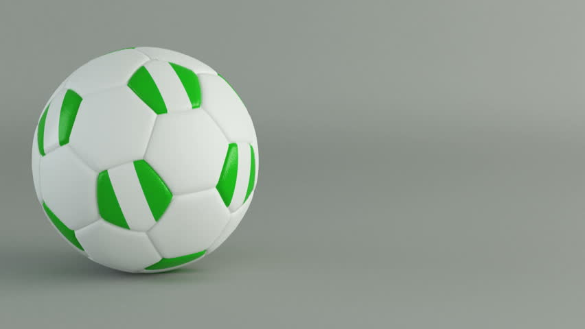 3D Render of spinning soccer ball with flag of Nigeria