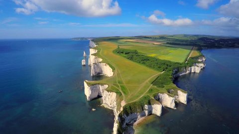 Old Harry Rocks chalk formations including a stack and a stump at Handfast Point Isle of Purbeck in Dorset southern England UK the most easterly point of the Jurassic Coast