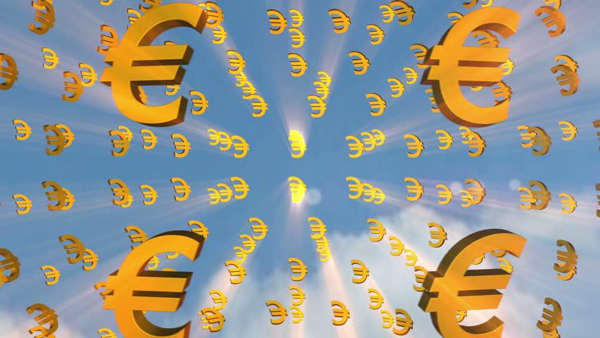 Money 09 Money Symbols Move On The Blue Mirror Background Stock