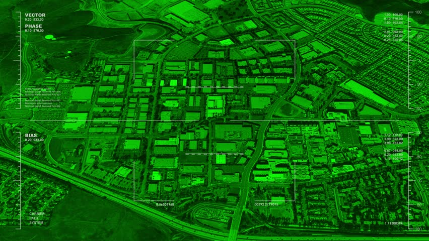 Night Vision Aerial Surveillance Drone UAV Flyover Of An Office Park Reversible Seamless Loop Available In DCI 2K 4K By Request