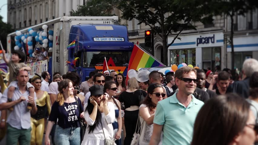 Gay Pride Protest Paris - 60fps. PARIS, FRANCE - 27 JUNE 2015; Gay pride or LGBT pride is the positive stance against discrimination and violence toward lesbian, gay, bisexual, and transgender.