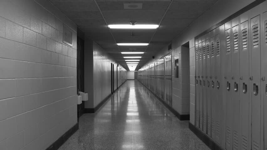 High School Hallway. Slow Zoom. Slow Zoom Down A Long ...