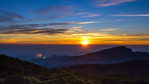 Time Lapse Sunrise On Valley At Doi Inthanon National Park Of Chiang Mai, Thailand