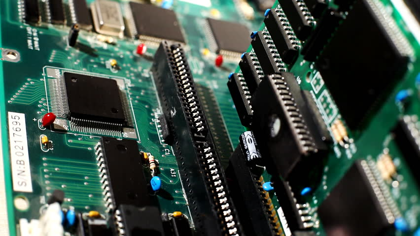 Close up view on main board with expansion cards