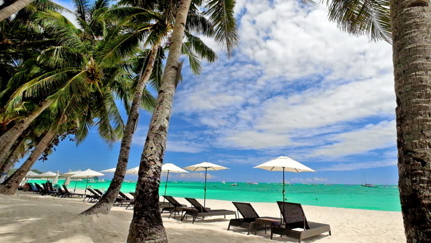 Amazing Tropical Beach Landscape With Palm Trees Umbrellas And Chairs For Relaxation On White Sand