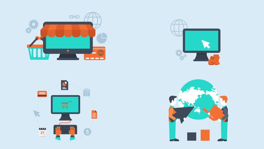 Flat style animated concept icons set of e-commerce, mobile online shopping, internet purchase, online sales, pay per click and digital marketing.